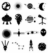 Black space icons set on white — Stock Vector