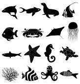 Sea life icons set — Stock Vector