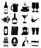Pub drinking icons set — Stock Vector
