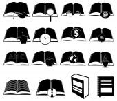 Books symbols icons set — Stock Vector