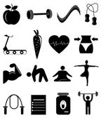 Diet exercise icons set — Stock vektor