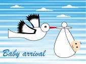 Cute baby arrival card. — Stock Vector