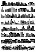Illustration of set of cityscape silhouette — Stockvector