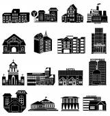 Public buildings icons set — Stock Vector