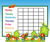 School timetable with flowers — Stock Vector