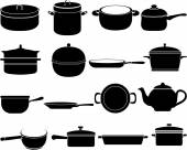 Silhouettes of kitchen ware icons — Stock Vector