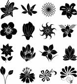 Flower silhouette icons set — Stock Vector