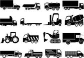 Heavy vehicles icons set — Stockvektor