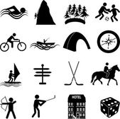 Leisure adventure icons set — Stock Vector
