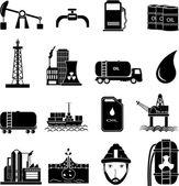 Conjunto de iconos de industria de aceite — Vector de stock