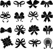 Ribbon bows icons set — Stock Vector