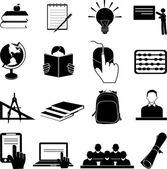 Skola utbildning ikoner set — Stockvektor
