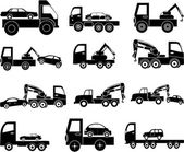 Tow vehicles icons set — Stockvektor
