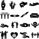 Volunteer help icons set — Stock Vector