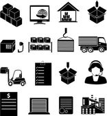 Warehouse logistics icons set — Stockvektor