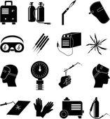 Spawanie przemysłowych ikony zestaw — Wektor stockowy