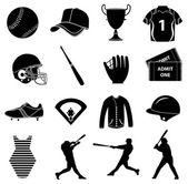 Baseball icons set — Stock Vector
