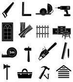 Carpenter icons set — Stock Vector