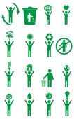 Eco friendly people icons set — Stock Vector