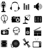 Sada ikon médií — Stock vektor