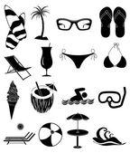 Beach Fun icons set — Stock Vector