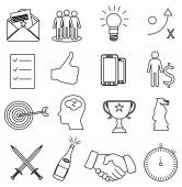 Business strategy line icons set — Stock vektor