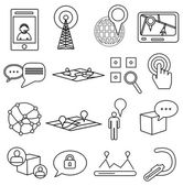 Communication location icons set — Stock Vector
