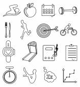 Gym fitness line icons set — Stock Vector
