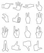 Hands gesture line icons set — Stockvektor