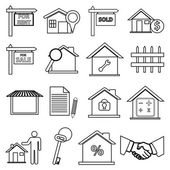Real estate line icons set — Stock Vector