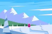 Snow landscape background — Stock Vector