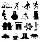 Winter season icons set — Stock Vector