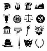 Rome greek icons set — Stock Vector