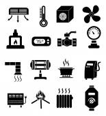 Heating icons set — Stock Vector