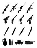 Military weapons icons set — Stock Vector