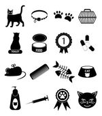 Pet cat icons set — Stock Vector