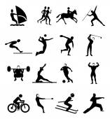 Sports people icons set — Stock Vector