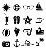 Summer holiday icons set — Stock Vector