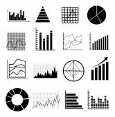 Analyse graphs charts icons set — Stock Vector