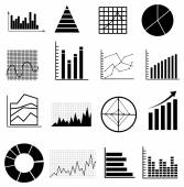 Analyse graphs charts icons set — Stock Vector