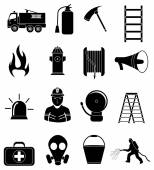Firefighter icons set — Stock Vector