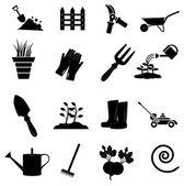 Gardening icons set — Stock Vector