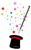 Magic wand and hat — Stock Vector
