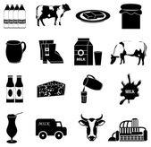Soubor ikony mléka — Stock vektor