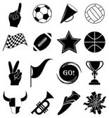 Sports fans icons set — Stock Vector