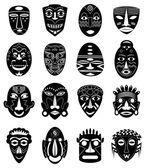Tribal masks icons set — Stock Vector