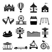 Amusement park icons set — Stock Vector