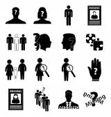 Missing person icons — Stock Vector