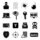 Hacker icons set — Stock Vector