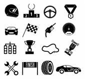 Car race icons set — Stock Vector